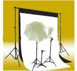 CowboyStudio Photography and Video Continuous Triple Lighting Kit, Backdrop Support System, Black