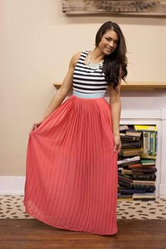 Woman's fashion maxi dress stripes coral mint  www.shopbhb.com