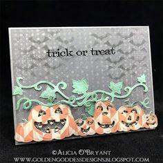 Quick Quotes and Spellbinders Halloween card, pumpkins, stencil Chalk Ink, Quick Quotes, Design Quotes, Halloween Cards, Creative Cards, Trick Or Treat, Pumpkins, Embellishments, Stencils