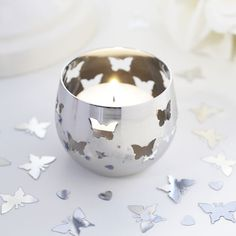 Silver Butterfly Detail Metal Tea Light Candle Holder - Confetti.co.uk