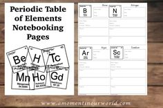 Free Periodic Table of Elements Notebooking Pages
