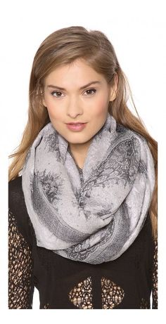 CREPONNE BURNOUT LACE SCARF - $161.20  Brushed cashmere adds an ethereal quality to a lace-printed gauze scarf.