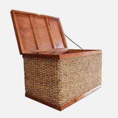 Duża skrzynia, kufer z drewna i abaki M10D_J