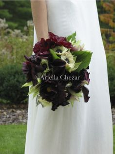 Perfect for a Midnight Summer's Dream Themed Wedding !!!!  Bouquet of purple-wine anemones, white anemones, blush pink dahlias, blush pink garden spray roses, and green maidenhair fern wrapped in blackberry and plum ribbon.