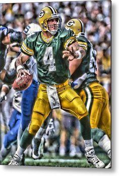 Bret Favre Metal Print featuring the painting Brett Favre Green Bay Packers by Joe Hamilton