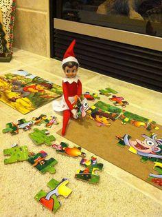 Puzzle Elf on the Shelf. Click for more ideas!  #elfontheshelf