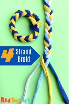How do you braid with 4 Strands - Red Ted Art crafts by season How do you braid with 4 Strands 4 Strand Braids, Yarn Braids, Fabric Bracelets, Braided Bracelets, Leather Bracelets, Leather Cuffs, Friendship Bracelets, Diy Arts And Crafts, Crafts For Kids