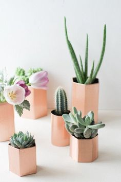 Jump on the hexagon decor trend with these sweet mini pink planters in the geometric shape. A fun twist on the interior decor trend, and in such a fun pretty contrasting color -- love plants on pink and botanicals on blush!