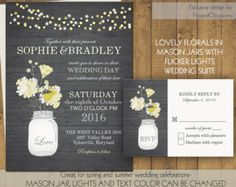 Mason Jar Wedding Invitations- Rustic Mason Jar Country Wedding Invitations with Flowers and dangling lights - on wood grain background