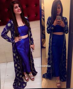 40 ideas sewing patterns for women tops fun Pakistani Dresses, Indian Dresses, Indian Outfits, Pakistani Suits, Western Dresses, Long Jacket Dresses, Shrug For Dresses, Dress Long, Velvet Dress Designs