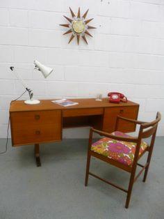 Mid Century Retro Vintage 60s 70s Teak Desk, perfect in any room.  | eBay UK