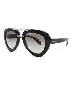 7ae395047620 Prada Black   Silver Thick Aviator Sunglasses