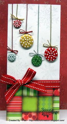 Buttons and bows ornament card http://taysrocha.blogspot.com