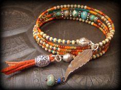 Jasper,Glass,Indian Summer,Colorful,Memory Wire Wrap Tribal Charm Bracelet