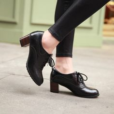 Brogue Womens Oxford Lace Up Wing Tip Retro Mid Chunky Heel Slip On Shoes Black on Luulla