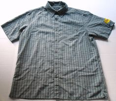 MARMOT Men's Gray Plaid Short Sleeve Shirt L LARGE Vibram Rayon Polyester #Marmot #ButtonFront