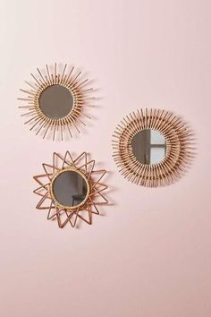 Rattan mirrors -sun, star and flower
