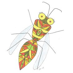 Long time no seen! Finaly I've got my scanner again  Here's a #bug I did this summer  #insect #creature #animal #cartoon #art #doodle #sketch #wings #pattern #eyes #draw