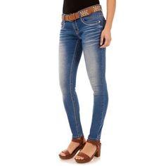 No Boundaries Juniors' Belted Embellished Skinny Jeans, Size: 7, Blue