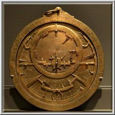 Brass astrolabe on display in Museum of Islamic Art. Doha, Qatar