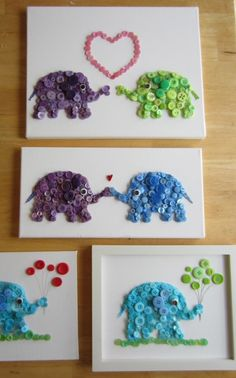 Funny #elephants from buttons :) Brilliant junk art!