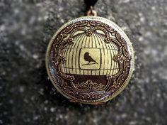 Locket Image Locket Bird Cage Filigree Frame Brass Photo by CJCrew, $42.00