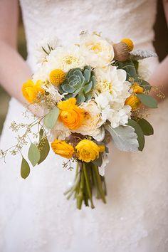 love the sedum with roses and eucalyptus in this arrangement