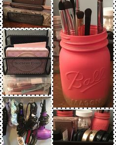 My makeup vanity organizing project. Love it, very easy!!!!! #myprojects #lovemakeup #dawnscrafty #pinterestaddict