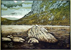 """Heron flies over Llyn Idwal"", 2011, linocut by Ian Phillips. http://www.reliefprint.co.uk/ Tags: Linocut, Cut, Print, Linoleum, Lino, Carving, Block, Woodcut, Helen Elstone, Wales, Welsh, Cymru, Rocks, Water, Sky, Landscape."