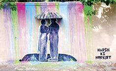 A Bollywood inspired installation in Bollywood city, Mumbai, by a Delhi based street artist Artist : Harsh Raman Where? Mumbai