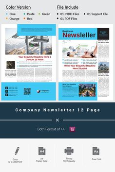 This business newsletter can be used for all business purposes. This business newsletter has been made in 2 colors. You can change this color as needed, just Company Newsletter, Newsletter Layout, Newsletter Design, Newsletter Templates, Web Layout, Layout Design, Design Web, Design Ideas, Graphic Design