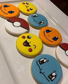 Pokemon Themed Party, Pokemon Birthday Cake, Birthday Cookies, 7th Birthday, Birthday Ideas, Festa Pokemon Go, Eve Pokemon, Pokemon Candy, Royal Icing Cookies
