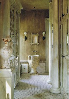 Unusual powder room with ancient stone sink #powderroom #interiordesign - More wonders at www.francescocatalano.it