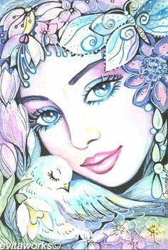 Fantasy Woman Face: Dove Fairy | EvitaWorks
