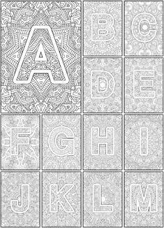 Color the Alphabet A-Z Adult coloring book - Sarah Renae Clark - Coloring Book Artist and Designer Alphabet Coloring Pages, Coloring Book Pages, Printable Coloring Pages, Coloring Sheets, Alphabet A, Coloring Pages For Grown Ups, Ecole Art, Mandala Coloring, Art Plastique