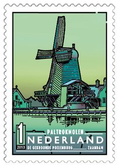 The Crowned Poelenburg in Zaandam (North Holland) , (Dutch Windmills) . Popular Hobbies, Rare Stamps, Country Names, Le Moulin, Day For Night, Stamp Collecting, Postage Stamps, Netherlands, Photos