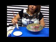 ARTESANATO Decoupage em pratos de vidro para decoração - YouTube