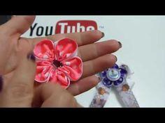 Lazos y flores faciles en cinta gros , lazos navideños, Moños bautizo - YouTube
