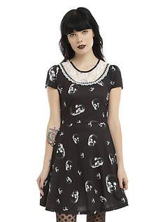 Black & White Skull Print Lace Bib Skater Dress, BLACK