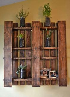 Wood pallet stained with some boards removed. Easy!