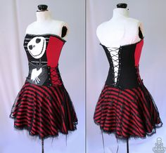 Nightmare Before Christmas striped corset dress - handmade to order - smarmyclothes. $235.00, via Etsy.