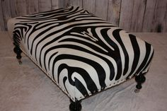 Black And White Zebra Cowhide Ottoman by 1801FurnitureCo on Etsy