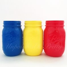 Primary colors for @marshfellows daughters birthday party!  Ordering recipe for jars pictured:  Section: mason jars Category: painted mason jars  Jar size: 3 pint jars  Colors: blue, sun yellow and red apple Finish: non distressed/glossy  #primarycolors #paintingparty #artistthemeparty #partydecor