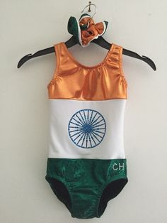 Indian flag leotard made by creations by claire hardy on Facebook Indian Flag, Leotards, Claire, Bikinis, Swimwear, Homeschool, Facebook, Fashion, Tights