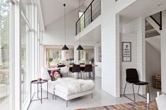 Summer house in Sysmä, Finland. Beautiful white surfaces and large windows. Cottage Design, House Design, Modern Barn House, Construction, Smart Design, Scandinavian Home, Large Windows, Ideal Home, House Plans