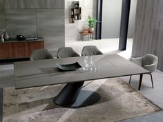 Tavolo allungabile da pranzo rettangolare in cemento THOR | Tavolo in cemento - Ozzio Italia
