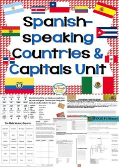 Everything you need to teach Spanish-speaking countries and capitals to your students! Great way to start the new school year. Unit includes a project, rubric, games, puzzles, quizzes, study tools, answer keys, and more!