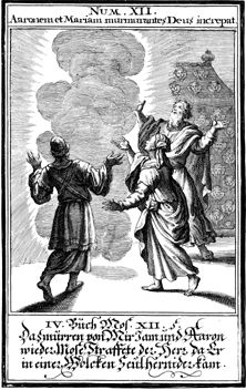 "God appears to Moses, Aaron, and Miriam"", woodcut, 1695, by Johann Christoph Weigel."