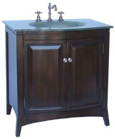 "32"" Temper Glass Top Vermezzo Bathroom Sink Vanity Cabinet Q231 2 | eBay $545"
