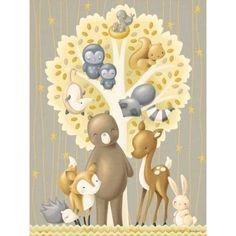 Oopsy Daisy - The Animal Tree - Neutral Canvas Wall Art 18x24, Sarah Lowe